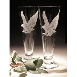 Crystal Eagle Pilsner Glasses-Set of 2 1