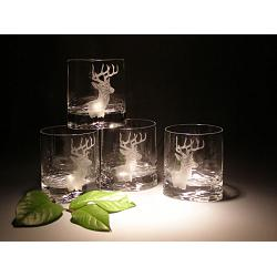 Whitetail Deer Head Crystal Rocks Glasses 1