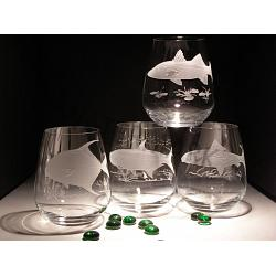 Game Fish Crystal Stemless Wine Glasses 1