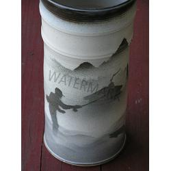 Handcrafted Fly Fishing Design Crock
