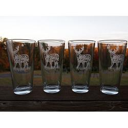 Whitetail Deer Sand Carved Tavern Glasses