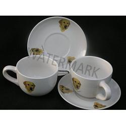 Yellow Lab Soup and Saucer Set 1