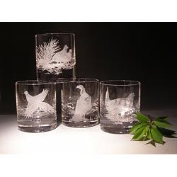 Crystal Game Bird Rocks Glasses set of 4 1
