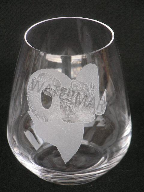 stemless crystal bighorn sheep wine glass 1
